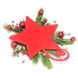 Stella rossa con la decorazione di natale Immagine Stock