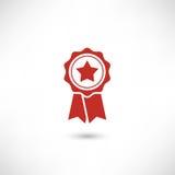 Stella rossa del distintivo Immagine Stock Libera da Diritti