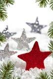 Stella rossa di Natale con le stelle d'argento Fotografie Stock Libere da Diritti