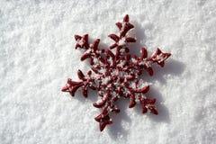 Stella rossa di natale in giorno della neve Immagine Stock Libera da Diritti