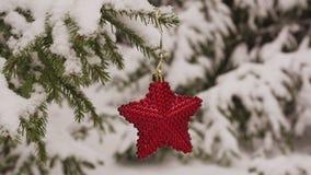 Stella rossa di Natale sul ramo innevato dell'abete archivi video