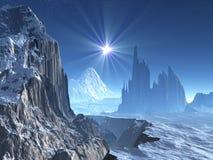 Stella sola sopra il mondo straniero di inverno illustrazione vettoriale