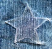 Stella su struttura del denim struttura pulita naturale blu-chiaro del denim Immagini Stock Libere da Diritti