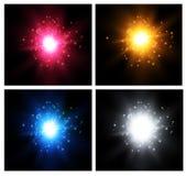 Stella su un fondo blu Flash luminoso Scoppio realistico con il chiarore Illustrazione di vettore illustrazione di stock