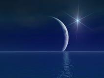 Stella surreale luminosa sopra la luna Fotografie Stock Libere da Diritti