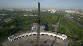 Stella in Victory Park, Poklonnaya Gora, Moscow. Aerial view stock video footage