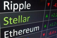 Stellaire crypto van XLM munt die in uitwisselingsgrafiek investeren Koop en verkoop Stellair muntstuk stock afbeelding