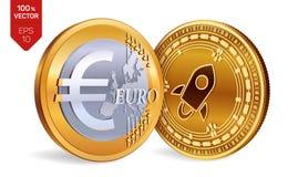 stellaire Euro pièce de monnaie pièces de monnaie 3D physiques isométriques Devise de Digital Cryptocurrency Pièces de monnaie d' Photo libre de droits