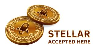 Stellar. Accepted sign emblem. Crypto currency. Golden coins with Stellar symbol isolated on white background. 3D isometric Physic. Al coin with text Accepted Stock Image