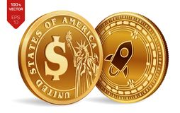 Stellar. Dollar coin. 3D isometric Physical coins. Digital currency. Cryptocurrency. Golden coins with Stellar and Dollar symbol i. Solated on white background Stock Images