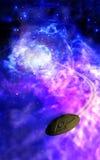 Stellar Escape. A small spacecraft escapes from a stellar phenomenon Stock Illustration