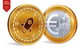 stellar Euro violento a metà contro vecchia priorità bassa monete fisiche isometriche 3D Valuta di Digital Cryptocurrency Monete  royalty illustrazione gratis