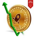 Stellar. Growth. Green arrow up. Stellar index rating go up on exchange market. Crypto currency. 3D isometric Physical Golden coin. Isolated on white background Stock Image