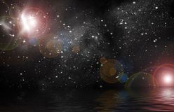 Stellar light in space. Planet in space Reflected in water Royalty Free Stock Photo