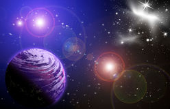 Stellar light in space. Planet in space in the star sky of flash, light vector illustration