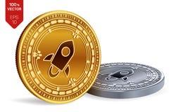 stellar monete fisiche isometriche 3D Valuta di Digital Cryptocurrency Monete dorate e d'argento con il simbolo stellare isolate  Fotografia Stock Libera da Diritti