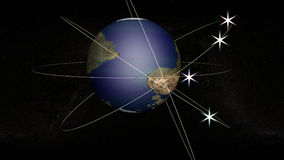 Stellar orbit. The globe on the background of the starry sky. Four orbits surround the globe. Four satellites are shining in orbit. They are represented in the Royalty Free Stock Photos