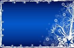 Stelle blu e fiori della cartolina di Natale Fotografia Stock