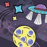 Stelle cadenti, UFOs e pianeta nello spazio della galassia Immagine Stock