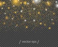 Stelle d'oro astratte di caduta, con gli effetti della luce Modello della decorazione dell'elemento di vettore su fondo trasparen royalty illustrazione gratis
