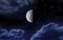 Stelle del cielo notturno della luna immagine stock libera da diritti