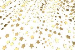 Stelle del platino o dell'oro che sorvolano fondo bianco Modellistica dell'illustrazione 3d concetto ricco del bitcoin di estrazi illustrazione vettoriale