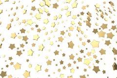 Stelle del platino o dell'oro che sorvolano fondo bianco Modellistica dell'illustrazione 3d concetto ricco del bitcoin di estrazi illustrazione di stock