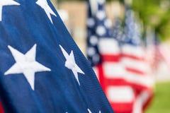 Stelle del primo piano sulla bandiera americana Fotografie Stock