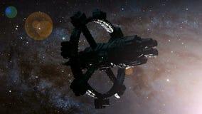 Stelle dell'astronave e della Via Lattea illustrazione di stock