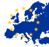Stelle dell'Eu dell'oro su Europa blu illustrazione di stock