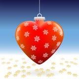 Stelle della neve del cuore della palla di Natale Fotografia Stock Libera da Diritti