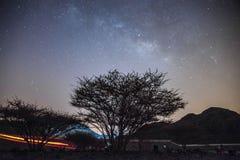 Stelle della Via Lattea in Fujairah uae Fotografia Stock