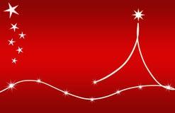 Stelle di colore rosso della scheda dell'albero di Natale Fotografie Stock Libere da Diritti