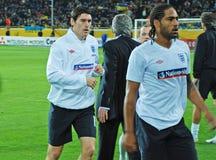 stelle di gioco del calcio dell'Inghilterra due Fotografie Stock