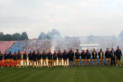 Stelle di gioco del calcio rumene Fotografia Stock Libera da Diritti