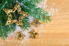 Stelle dorate di Natale Immagini Stock Libere da Diritti