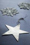 Stelle e fiocchi di neve d'argento di Natale Fotografia Stock Libera da Diritti