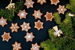 Stelle e fiocchi di neve dei biscotti di natale del pan di zenzero con il ramo verde su fondo nero Fotografia Stock Libera da Diritti