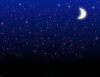 Stelle e luna Immagini Stock