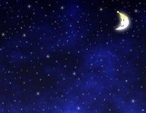 Stelle e luna sorridente Fotografia Stock