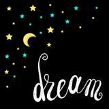 Stelle e luna Tema di sogni dolci e della buona notte Immagine Stock