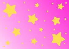 Stelle gialle su fondo rosa Fotografia Stock