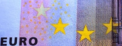 Stelle gialle sul complemento della nota dell'euro cinquanta Fotografie Stock Libere da Diritti