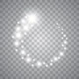 Stelle, luci e scintille d'ardore di vettore Effetti trasparenti Immagine Stock