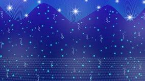 Stelle, luci, scintille, coriandoli e nastri luminosi astratti nel fondo blu royalty illustrazione gratis
