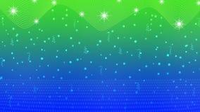Stelle, luci, scintille, coriandoli e nastri luminosi astratti nel fondo blu e verde illustrazione di stock