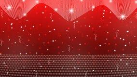 Stelle, luci, scintille, coriandoli e nastri luminosi astratti nel fondo rosso illustrazione vettoriale