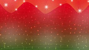 Stelle, luci, scintille, coriandoli e nastri luminosi astratti nel fondo rosso e verde illustrazione di stock
