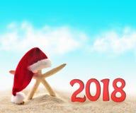Stelle marine in cappello di Santa alla spiaggia 2018 Fotografie Stock