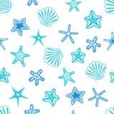 Stelle marine e reticolo senza giunte dei seashells Priorità bassa marina Illustrazione di vettore royalty illustrazione gratis